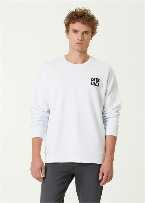 Beyaz Logo Patchli Sweatshirt