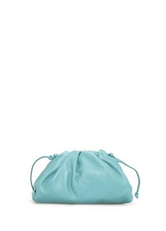 Bottega Veneta Kadın The Mini Pouch Mavi Deri Omuz Çantası Yeşil EU