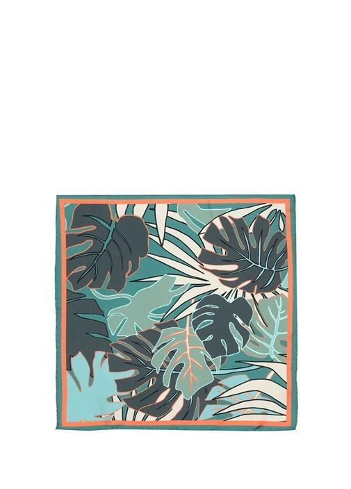 Yeşil Tropikal Desenli 50x50 cm İpek Eşarp