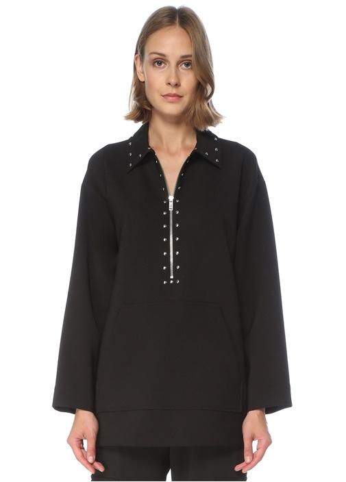 Siyah Zımbalı Oversize Krep Bluz