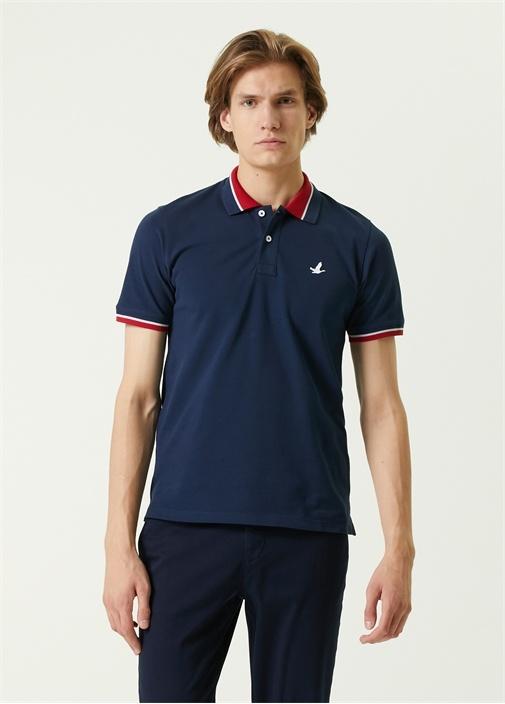 Comfort Fit Lacivert Polo Yaka Şeritli T-shirt