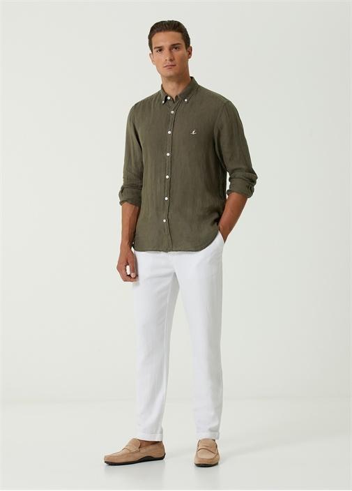 Comfort Fit Haki Düğmeli Yaka Keten Gömlek