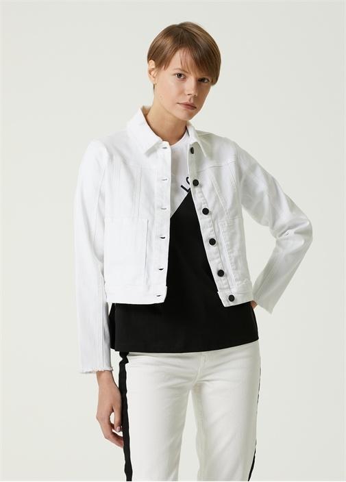 Beyaz Nakış Detaylı Jean Ceket