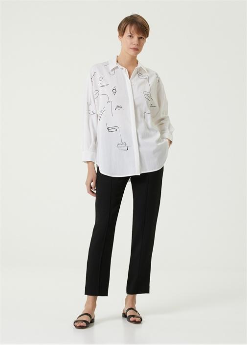 Beyaz Kontrast Figür Desenli Yarasa Kol Gömlek