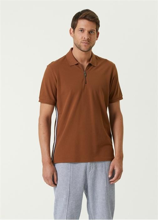 Slim Fit Kahverengi Polo Yaka Bant Detaylı T-shirt