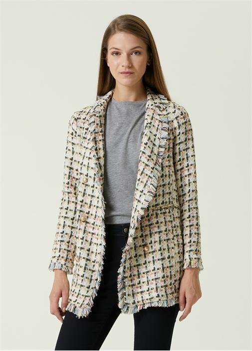 Kelebek Yaka Ekoseli Tweed Ceket