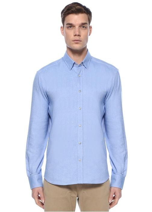 Comfort Fit Mavi Polo Yaka Oxford Gömlek