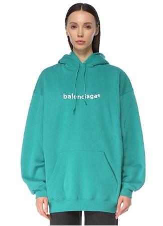 Balenciaga Kadın Oversize Turkuaz Kapüşonlu Logolu Sweatshirt Mavi S EU