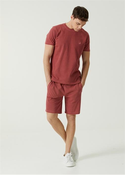 Kırmızı Beli Kordonlu Jersey Şort
