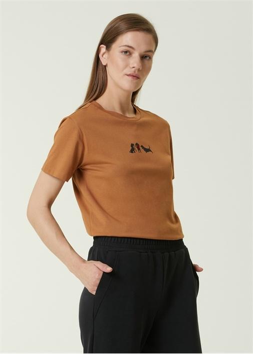 Camel Köpek Baskılı T-shirt