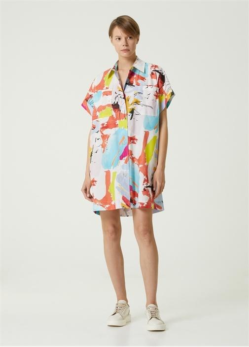 Desenli Kısa Kol Mini Poplin Gömlek Elbise