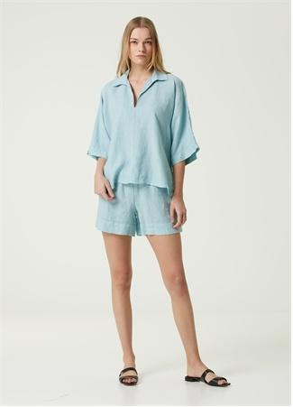 Beymen Collection Kadın Mavi Bol Keten Tunik 42