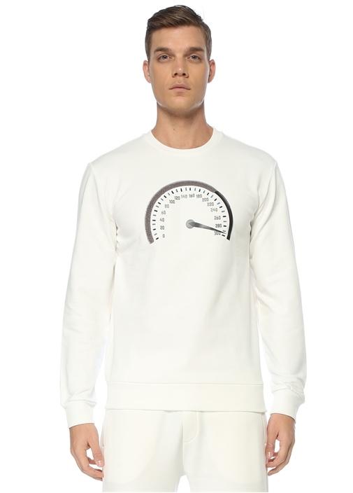 Beyaz Bisiklet Yaka Nakışlı Sweatshirt