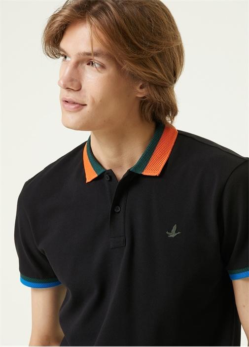 Slim Fit Siyah Polo Yaka Renkli Ribli T-shirt