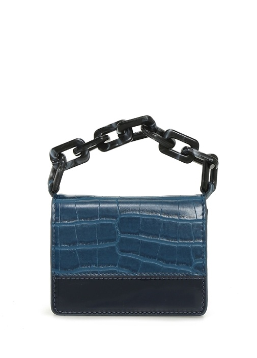 Super Mini Mavi Krokodil Dokulu Kadın Omuz Çantası