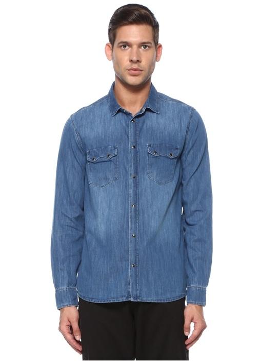Comfort Fit Mavi Polo Yaka Denim Gömlek