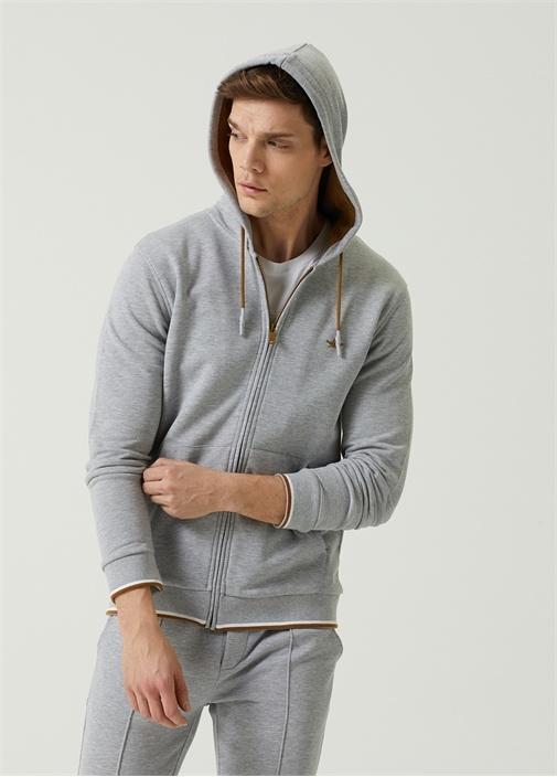Gri Kapüşonlu Triko Bantlı Sweatshirt