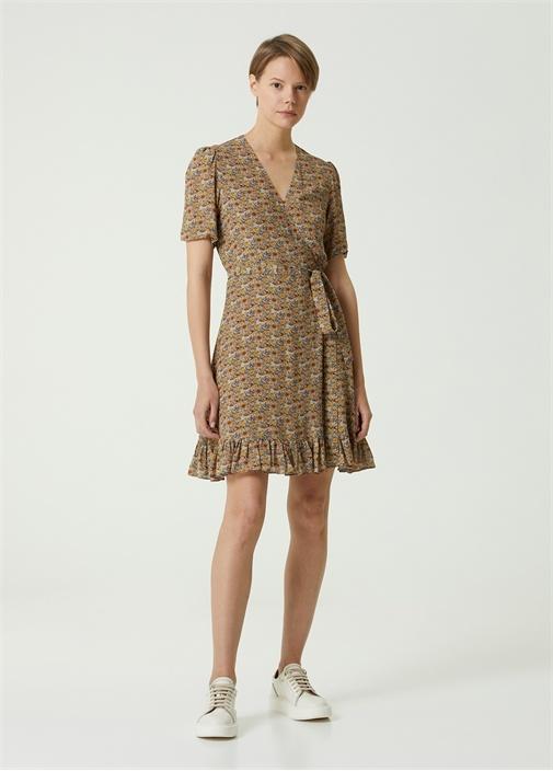V Yaka Çiçekli Mini Anvelop Elbise