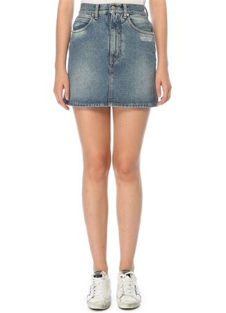 Off-White Kadın Normal Bel Mini Jean Etek Mavi 42 IT
