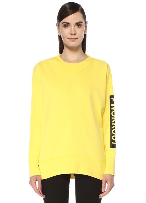 Sarı Bisiklet Yaka Kolu Baskılı Sweatshirt