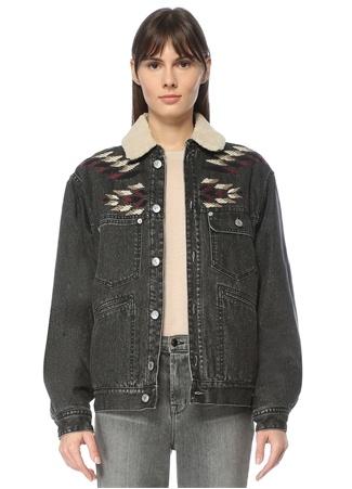 Etoile Isabel Marant Kadın Antrasit Peluş Detaylı Nakışlı Jean Ceket Gri 34 FR