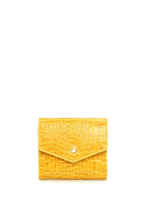Sarı Krokodil Dokulu Kadın Deri Cüzdan