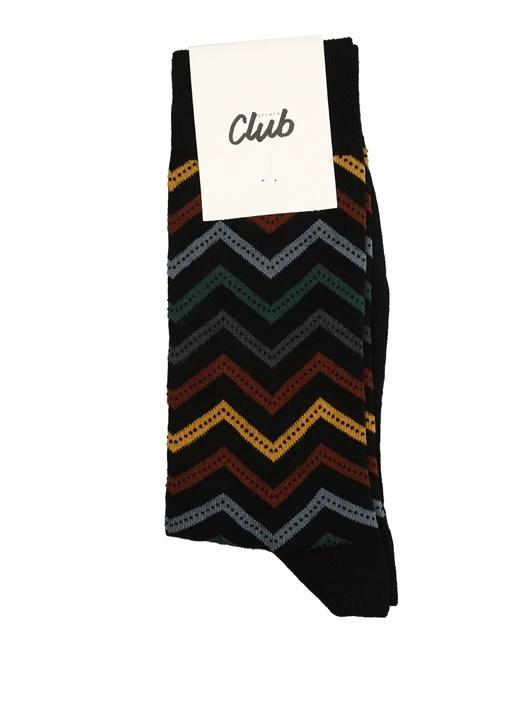 Siyah Zikzak Desenli Puantiyeli Erkek Çorap