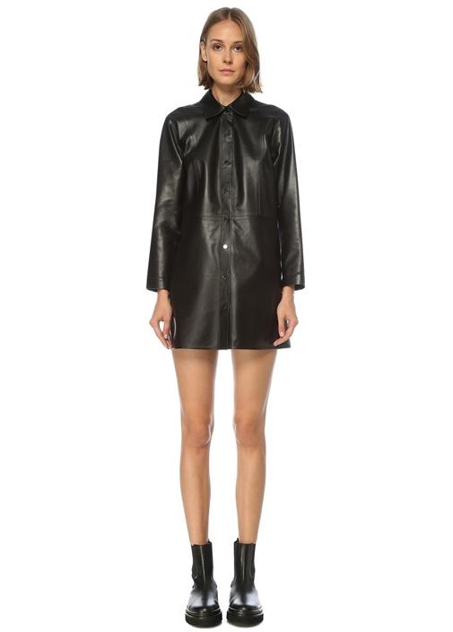 Siyah Mini Deri Elbise