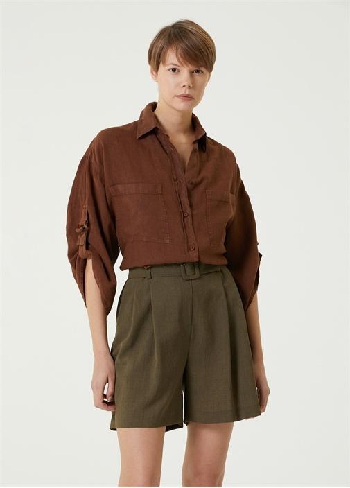 Kahverengi Kolu Katlamalı Keten Gömlek