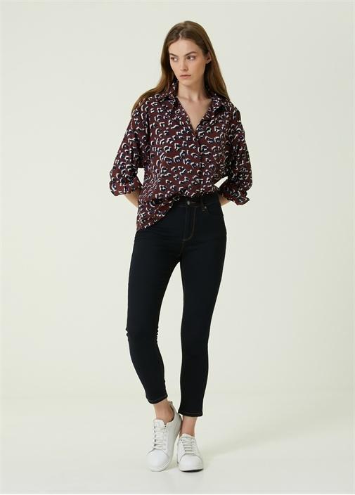 Lacivert Dikiş Detaylı Skinny Jean Pantolon