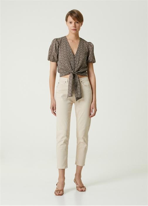 Kahverengi V Yaka Çiçekli Crop Bluz