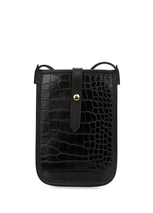Siyah Kadın Deri Mini Çapraz Çanta