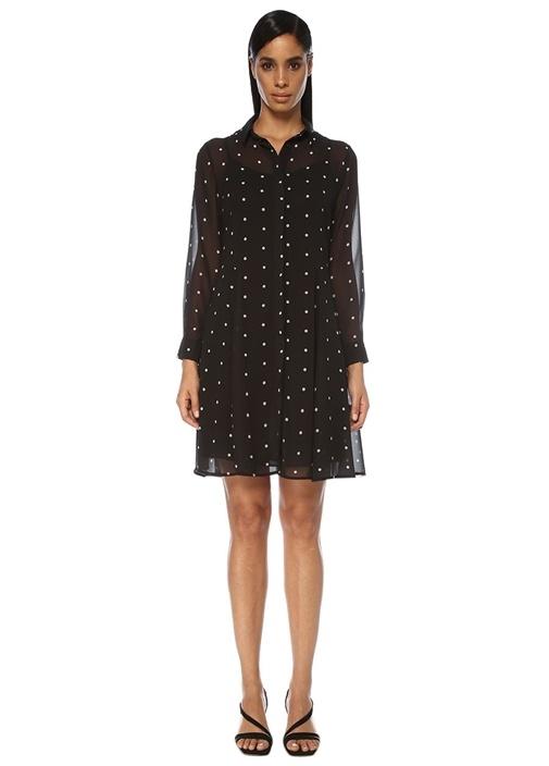 Siyah Puantiyeli Mini Şifon Gömlek Elbise