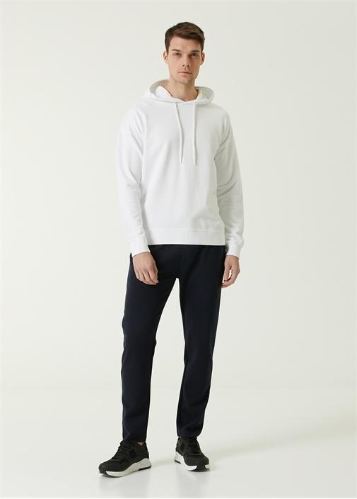 Beyaz Kapüşonlu Logolu Oversize Sweatshirt