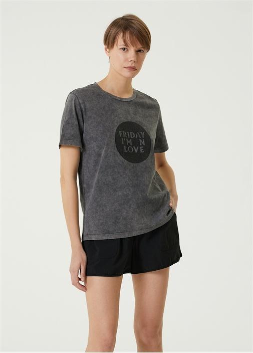 Antrasit Simli Yazı Baskılı Basic T-shirt