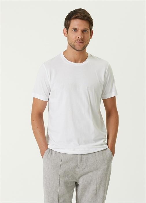 Beyaz Reflektif Balık Baskılı T-shirt