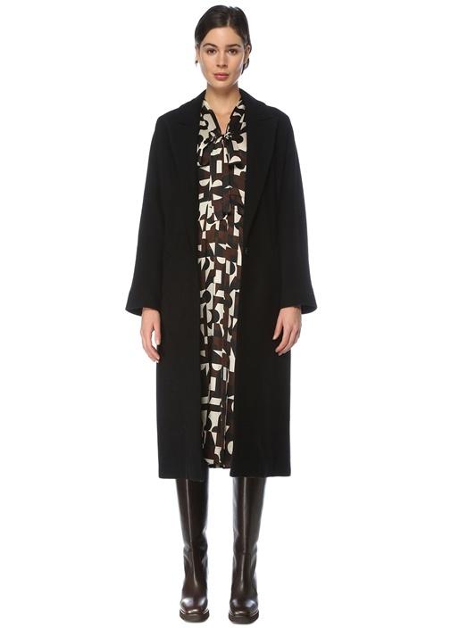 Siyah Tek Düğmeli Klasik Yün Palto