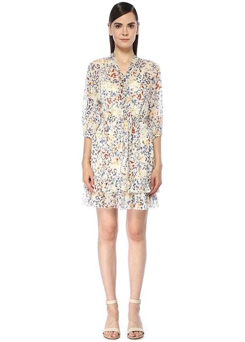 Ekru Fularlı Çiçek Desenli Mini Şifon Elbise