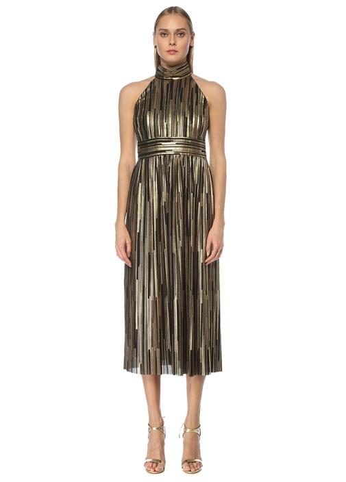 Gold Halter Yaka Varak Baskılı Midi Elbise