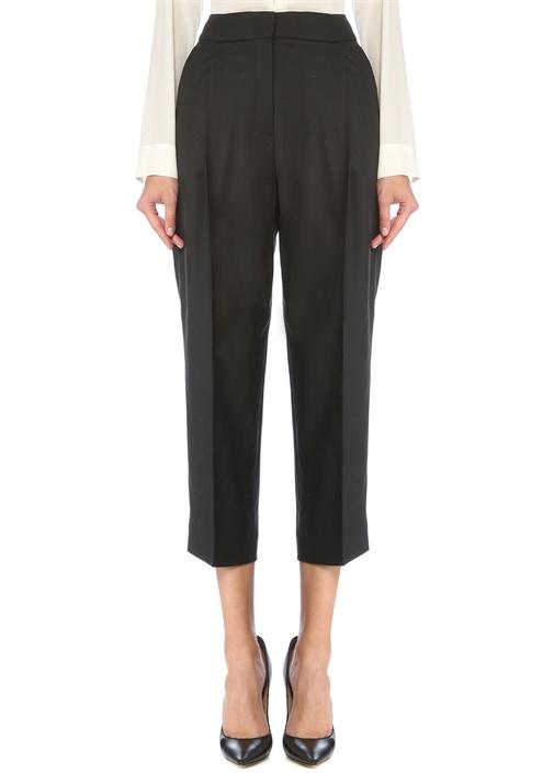 Siyah Yüksek Bel Pilili Crop Yün Pantolon