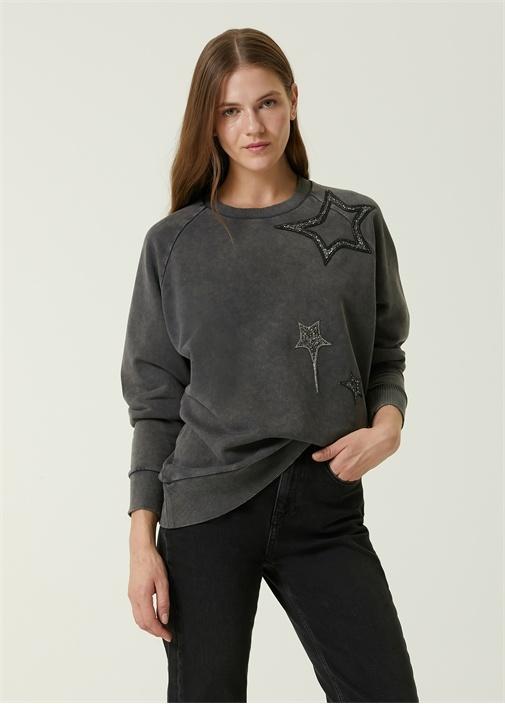 Antrasit Yıldız İşlemeli Sweatshirt