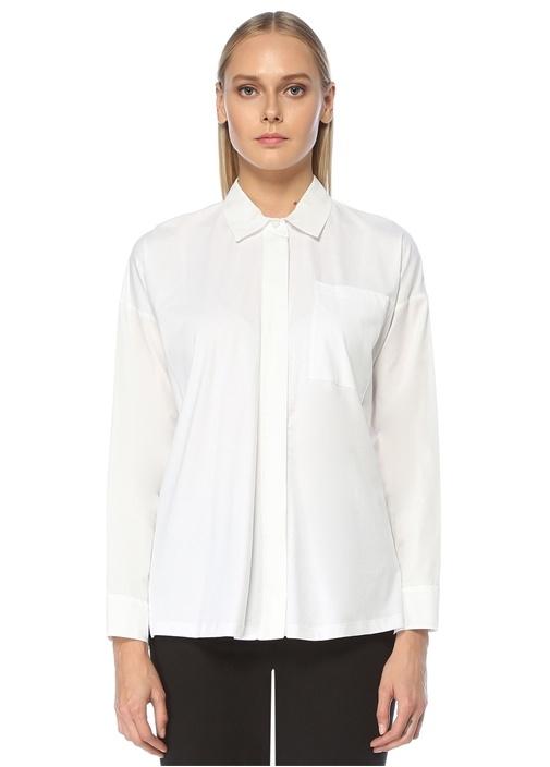 Beyaz İngiliz Yaka Kenarları Yırtmaçlı Gömlek