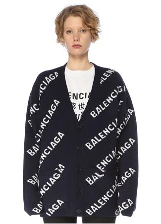Balenciaga Kadın Lacivert Beyaz V Yaka Logolu Yün Hırka S EU