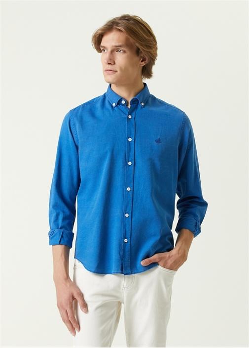 Comfort Fit Koyu Mavi Düğmeli Yaka Oxford Gömlek