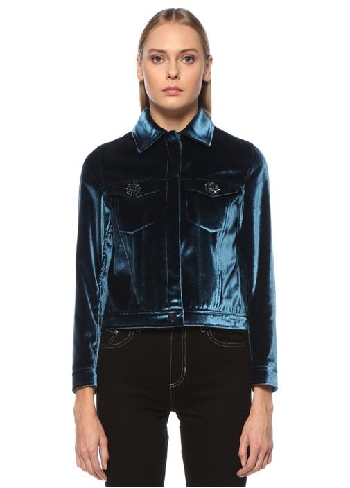 Mavi Taş Düğmeli Kadife Ceket