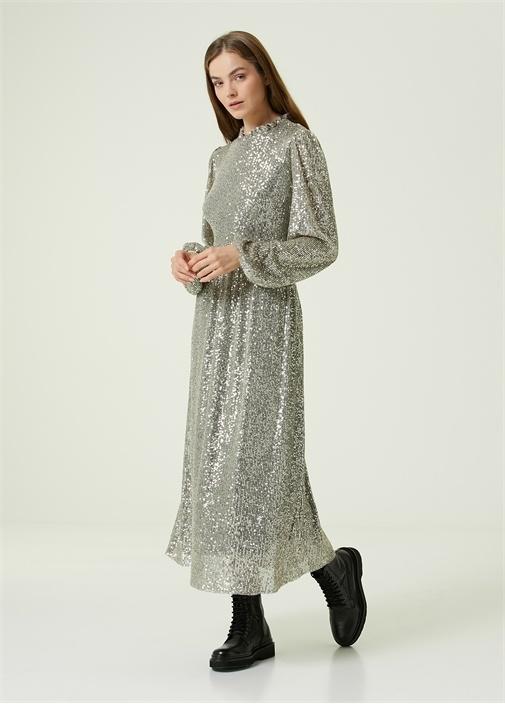 Silver Dik Yaka İşlemeli Midi Elbise