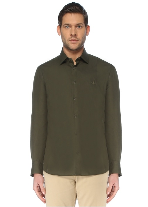 Slim Fit Haki İngiliz Yaka Gömlek