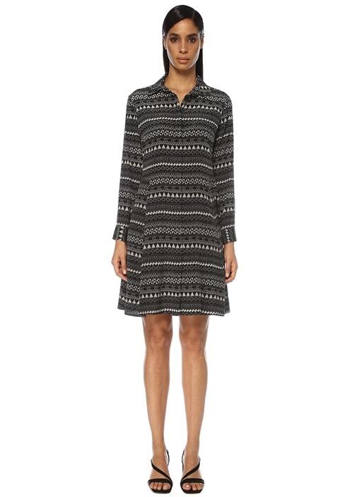 Siyah Geometrik Desenli Mini Gömlek Elbise