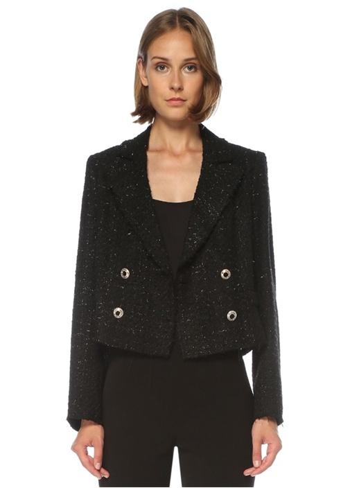 Siyah Crop Kruvaze Tweed Ceket