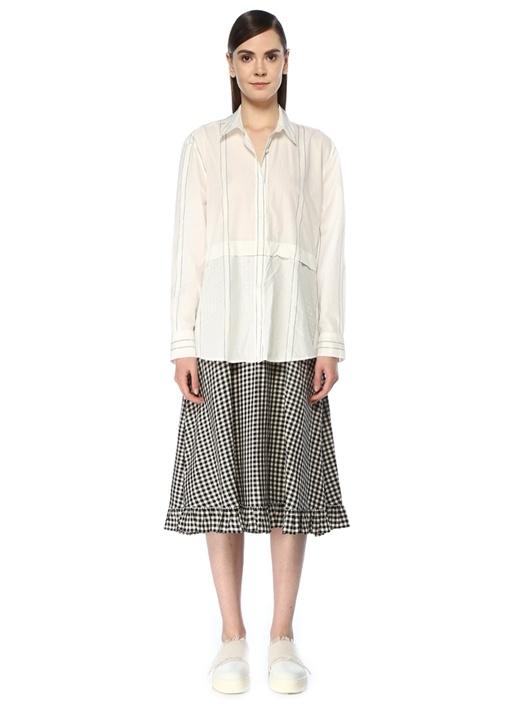 Siyah Beyaz Desenli Midi Poplin Gömlek Elbise